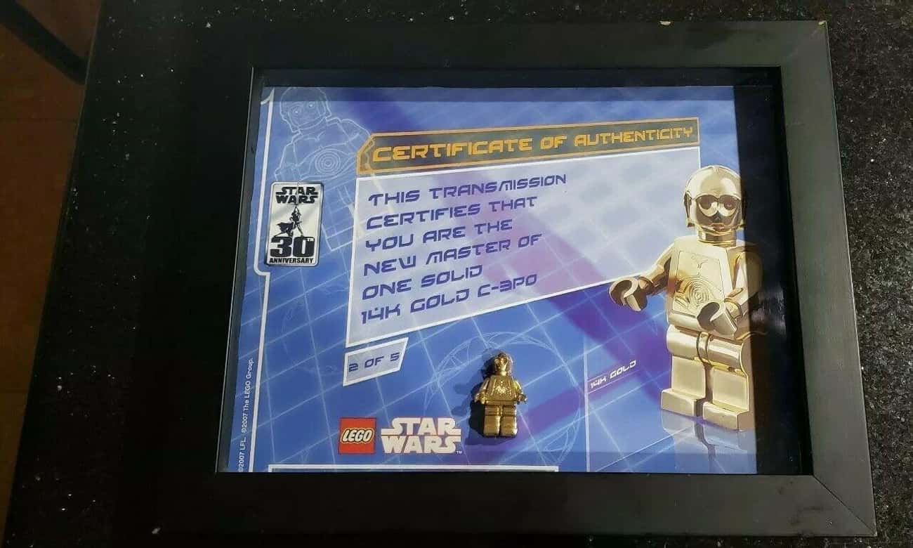 14K Gold C-3PO (2007) is listed (or ranked) 3 on the list All The Rarest And Most Valuable LEGO Minifigures