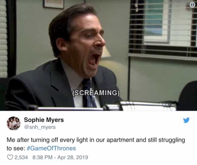 I Can't Make My Place Any Dark... is listed (or ranked) 4 on the list People Couldn't See 'Game Of Thrones' During The Battle Of Winterfell And They've Made Funny Memes