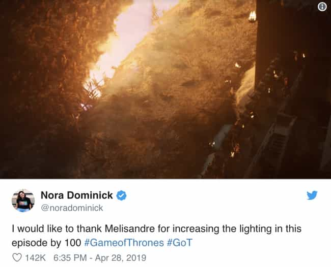 Melisandre Was The True ... is listed (or ranked) 1 on the list People Couldn't See 'Game Of Thrones' During The Battle Of Winterfell And They've Made Funny Memes