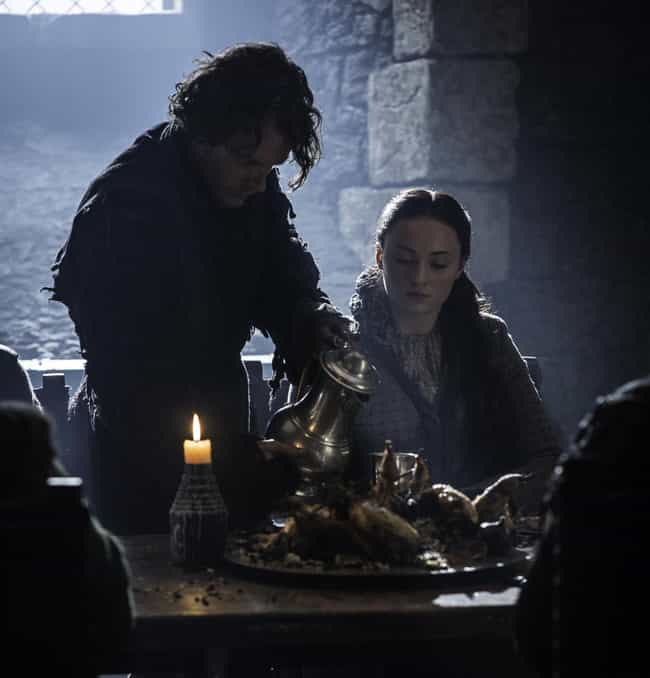 He Tries To Protect Sansa When... is listed (or ranked) 3 on the list A Complete Timeline Of Theon's Redemption: Everything He Did To Become A Stark Again