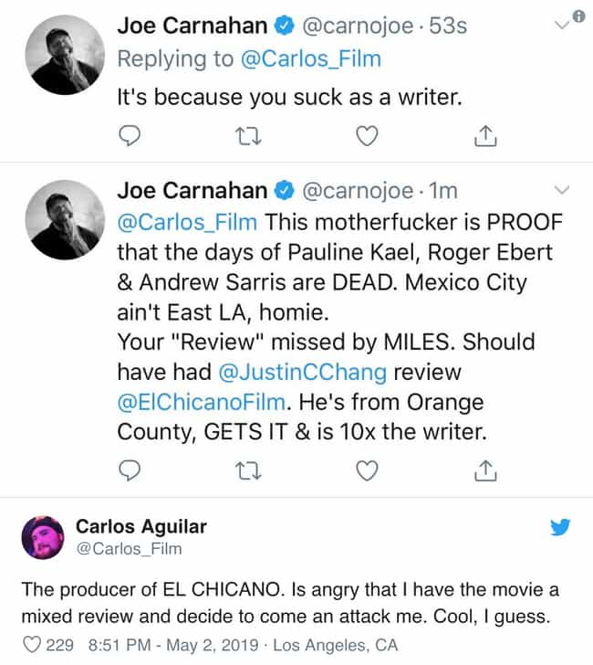 Joe Carnahan Deletes Tweet Att... is listed (or ranked) 3 on the list 2019 Controversial Tweets That Were Quickly Deleted