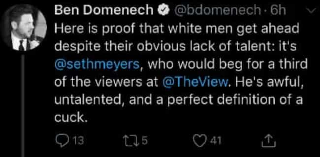 Ben Domenech Deletes Tweets At... is listed (or ranked) 1 on the list 2019 Controversial Tweets That Were Quickly Deleted