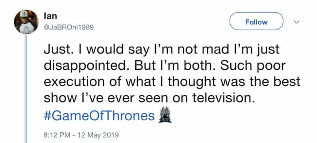 First To Worst is listed (or ranked) 6 on the list Negative Twitter Reactions To 'Game Of Thrones'' Penultimate Episode