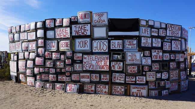 The Wall Of TVs Is A Criticism... is listed (or ranked) 2 on the list Inside East Jesus, One Of Slab City's Most Famous Communes