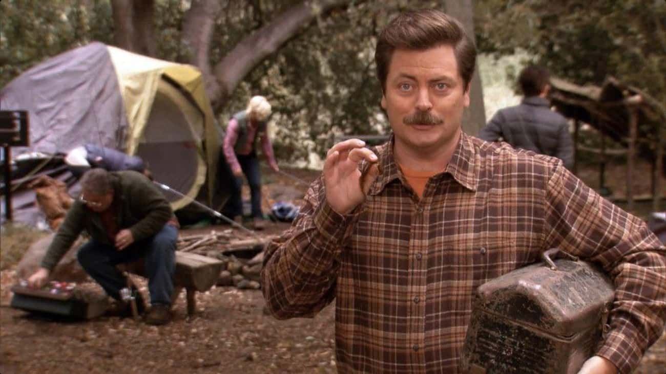He Works At The Parks Departme is listed (or ranked) 2 on the list Fan Theories About Ron Swanson From 'Parks And Recreation'
