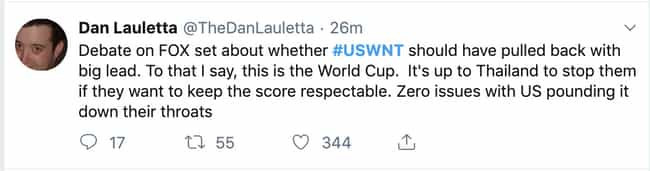 There Was No Reason To Pull Ba... is listed (or ranked) 4 on the list Reactions To The US Women's Soccer Team Making World Cup History