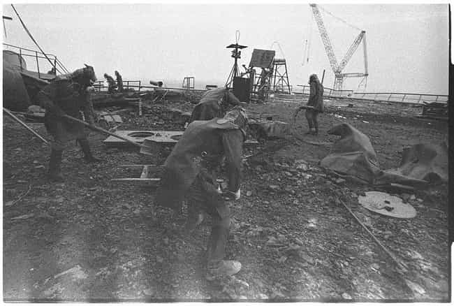 Workers - Each For Just 40 Sec... is listed (or ranked) 2 on the list The Creepiest Photos From The Chernobyl Disaster And Its Aftermath