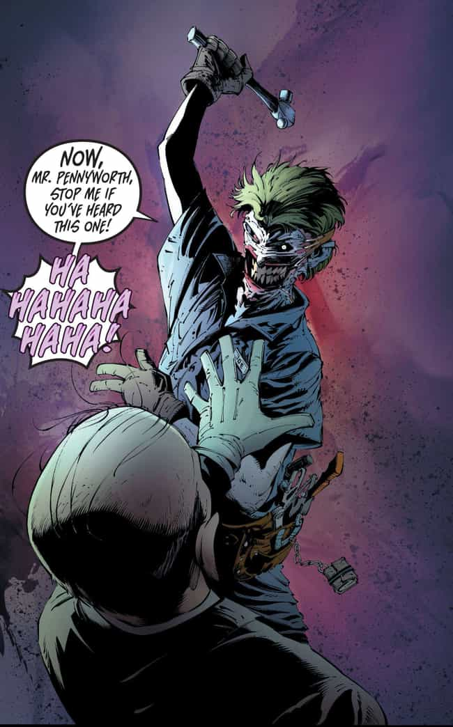 Joker Attacks Alfred With A Ha... is listed (or ranked) 2 on the list The 'Death Of The Family' Joker Comic Book Arc Was One Of The Most Messed Up In Comic Book History