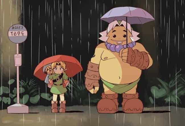 Link, Deku Scrub & Goron  is listed (or ranked) 3 on the list 25+ Incredible 'My Neighbor Totoro' Fanart Mashups