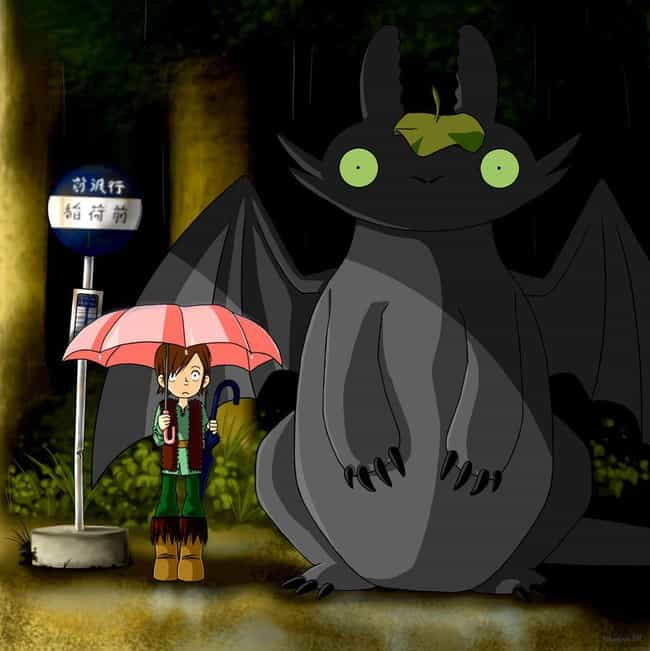 Toothless & Hiccup is listed (or ranked) 2 on the list 25+ Incredible 'My Neighbor Totoro' Fanart Mashups