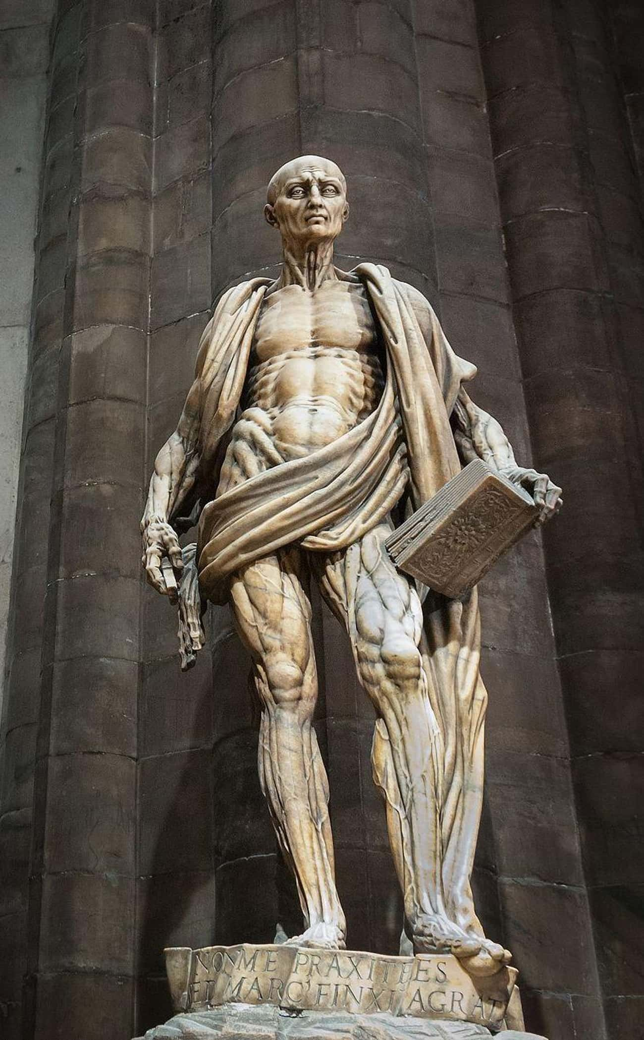 St. Bartholomew's Statue Is Draped In His Own Skin Because He Was Flayed Alive