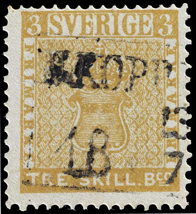 1857 Treskilling Yellow is listed (or ranked) 4 on the list The Most Valuable Stamps In History