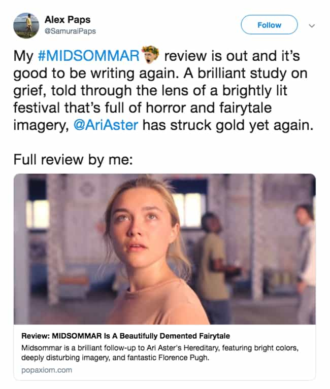 Ari Aster Does It Again is listed (or ranked) 4 on the list Everyone On Twitter Is Saying 'Midsommar' Is Awesome - And Creepy