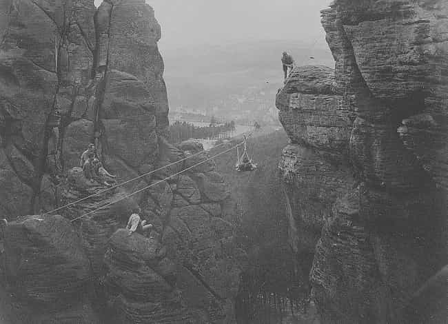 Makeshift Bridge, C. 1929 is listed (or ranked) 4 on the list Historical Photos Anyone Who Is Afraid Of Heights Should Avoid