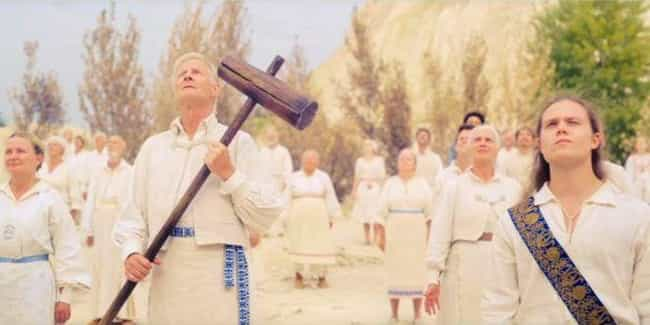 An Elderly Couple Jumps Off A ... is listed (or ranked) 3 on the list 'Midsommar' Is A Phantasmagoric Nightmare Of A Horror Movie