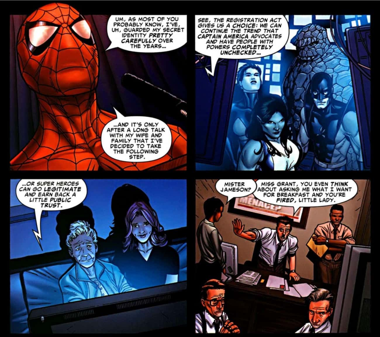 J. Jonah Jameson Collapses In  is listed (or ranked) 4 on the list What Happened After Spider-Man's Secret Identity Was Revealed In The 'Civil War' Comic