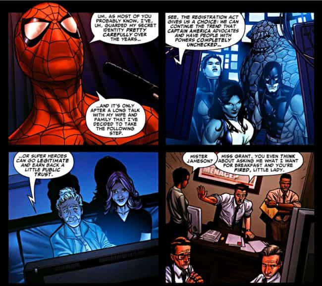J. Jonah Jameson Collapses In ... is listed (or ranked) 4 on the list What Happened After Spider-Man's Secret Identity Was Revealed In The 'Civil War' Comic