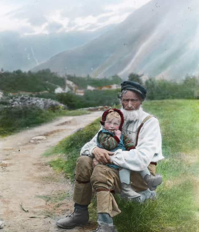Father And Child In Norw... is listed (or ranked) 4 on the list 21 Beautiful Colorized Historical Photos Of People From Around The World