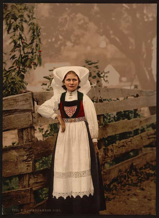 Young Girl In Hardanger Fjord,... is listed (or ranked) 3 on the list 21 Beautiful Colorized Historical Photos Of People From Around The World