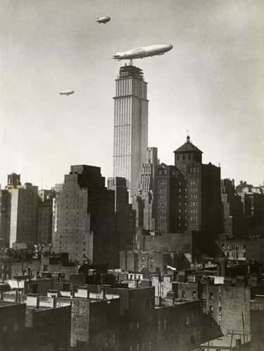 Zeppelin Over An In-Construction Empire State Building