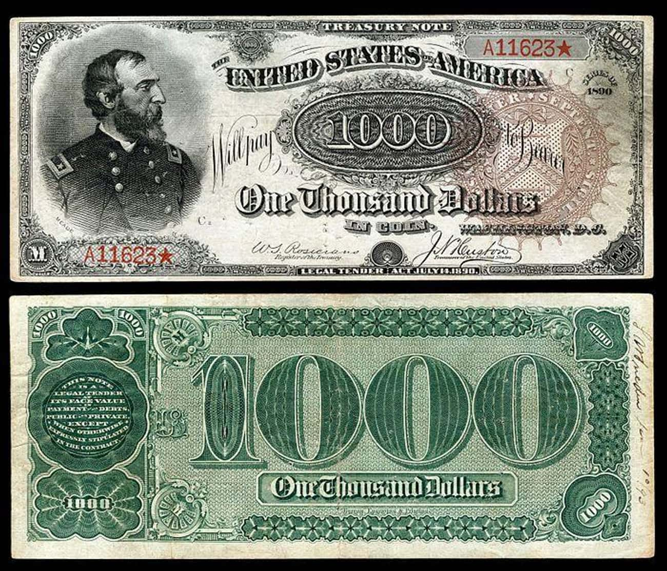 1890 $1,000 'Grand Watermelon' is listed (or ranked) 1 on the list Rare US Currency That's Worth A Ton Of Money Now