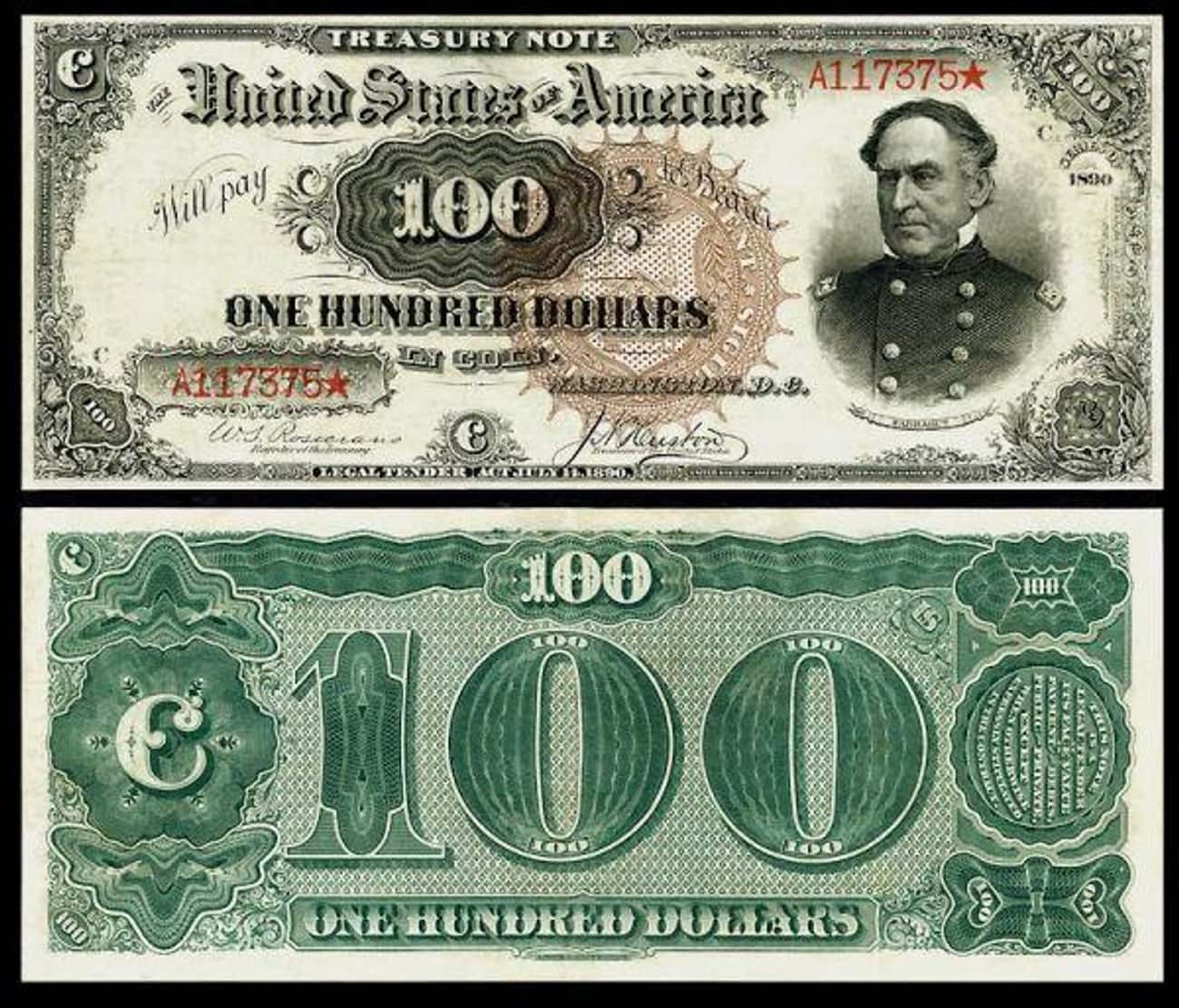 1890 $100 'Baby Watermelon' Tr is listed (or ranked) 2 on the list Rare US Currency That's Worth A Ton Of Money Now