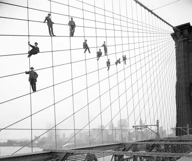Painters Perch On Cables Of Th... is listed (or ranked) 1 on the list Historical Photos Of People Being Cool As Hell