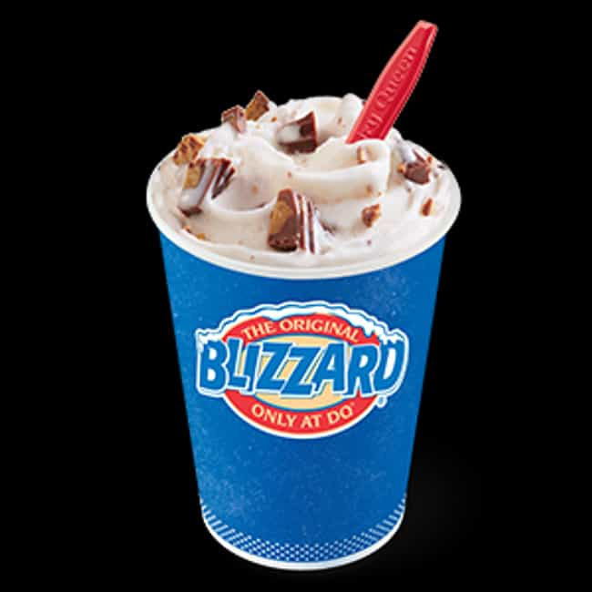 Reese's Peanut Butter Cu... is listed (or ranked) 4 on the list The Most Delicious Blizzards At Dairy Queen