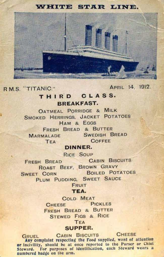 Fish And Seafood is listed (or ranked) 4 on the list What Did Passengers Eat On The Titanic?