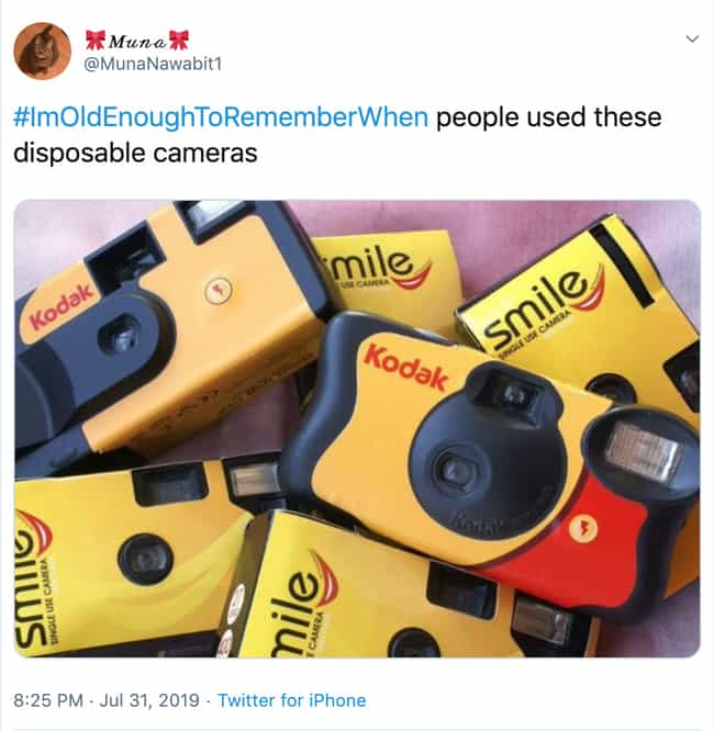 Disposable Cameras is listed (or ranked) 4 on the list The Funniest #ImOldEnoughToRememberWhen Tweets