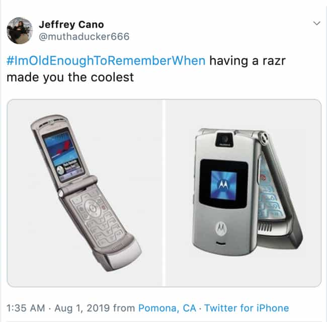 The Motorola Razr is listed (or ranked) 3 on the list The Funniest #ImOldEnoughToRememberWhen Tweets