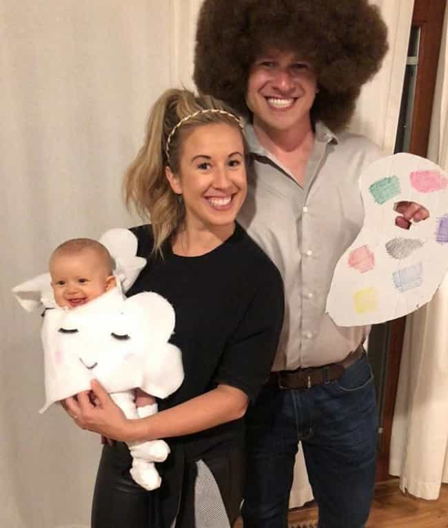 Bob Ross and Happy Little Acce... is listed (or ranked) 2 on the list Family Halloween Costume Ideas For 2019