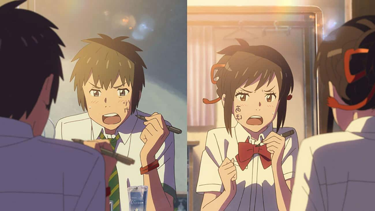 Mitsuha Miyamizu & Taki Tachib is listed (or ranked) 1 on the list 15 'Freaky Friday' Anime Moments Where Characters Switched Bodies