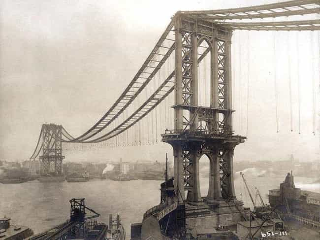 The Manhattan Bridge Under Con... is listed (or ranked) 4 on the list Photos Of Historic New York That Show What The Big Apple Used To Look Like