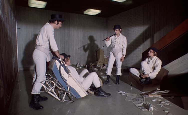 The White Outfits And External Codpieces Came From Malcolm McDowell's Cricket Gear