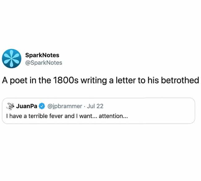 Keats Is Sweating is listed (or ranked) 4 on the list The Funniest SparkNotes Memes Only A True Lit Nerd Will Get