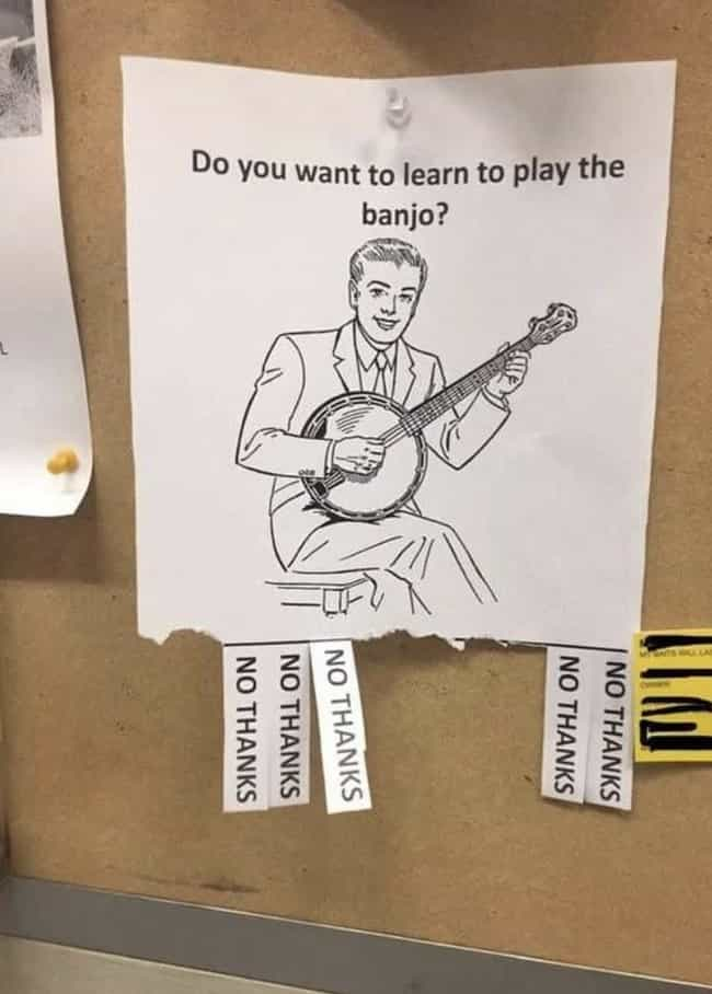 Banjo Anyone? is listed (or ranked) 1 on the list 17 Pictures That Have Nothing In Common Other Than That They Made Us Laugh A Lot