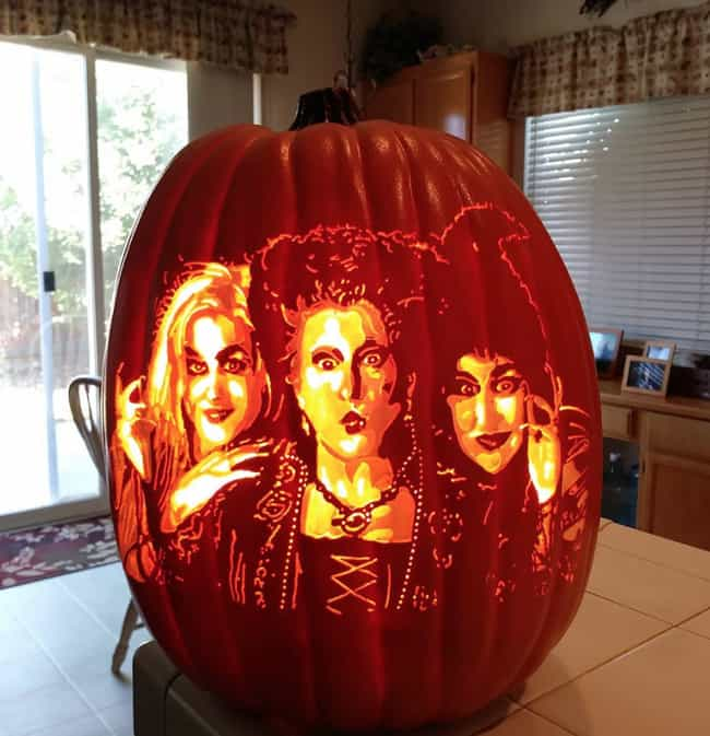 The Sanderson Sisters is listed (or ranked) 4 on the list The Best Pumpkin Carvings By The Pumpkin Geek