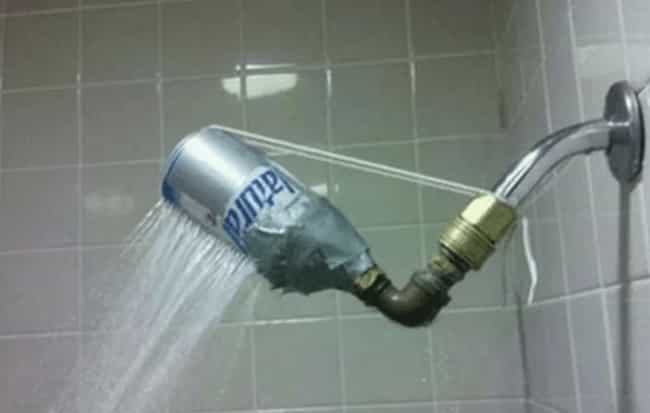 Natty Light Shower Head is listed (or ranked) 3 on the list 25 Pictures From People Who Probably Took The DIY Trend A Little Too Far