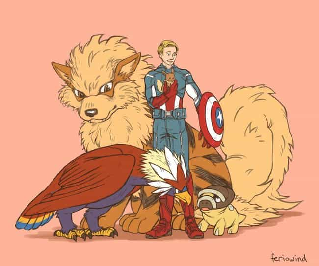 Steve Rogers is listed (or ranked) 4 on the list This Artist Draws The Avengers As Pokemon Trainers