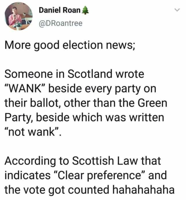 At Least They Voted is listed (or ranked) 4 on the list #ScottishPeopleTwitter Is A Thing, And It's Really Frickin' Funny