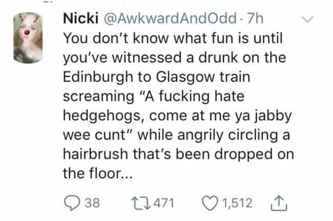 Hedgehogs is listed (or ranked) 2 on the list #ScottishPeopleTwitter Is A Thing, And It's Really Frickin' Funny
