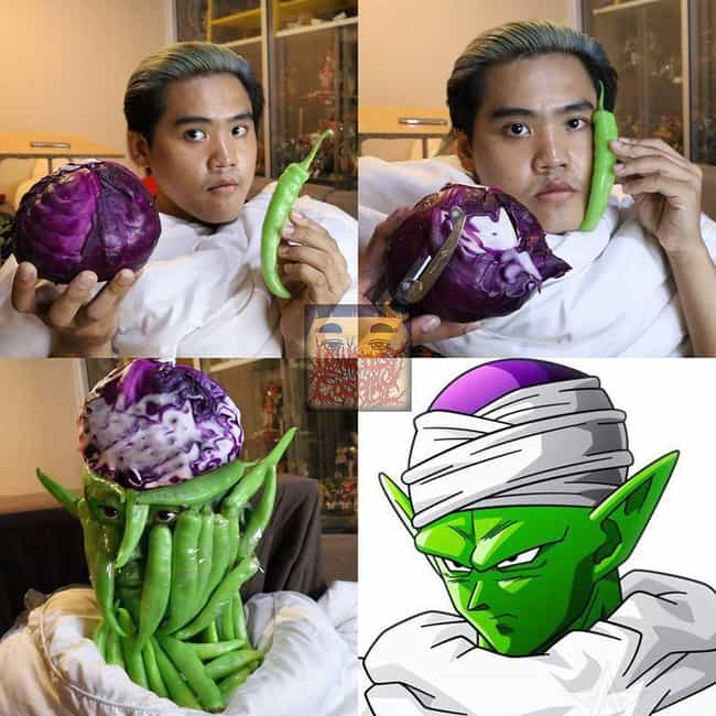 Piccolo is listed (or ranked) 4 on the list This Man Is The Master Of Low Cost Anime Cosplay