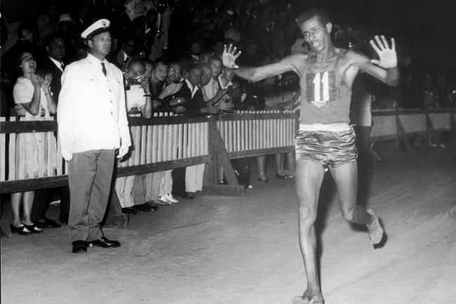 Abebe Bikila Breaks The ... is listed (or ranked) 3 on the list 16 Inspiring Photos Of Historical Record Setters