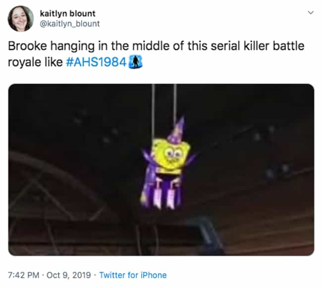 Guess I'll Wait Here is listed (or ranked) 2 on the list The 22 Best Twitter Reactions To Episode 4 Of 'American Horror Story: 1984'