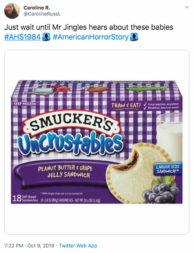 Best Invention Since Sliced Br... is listed (or ranked) 4 on the list The 22 Best Twitter Reactions To Episode 4 Of 'American Horror Story: 1984'