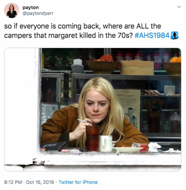 Doesn't Add Up is listed (or ranked) 3 on the list The 20 Best Twitter Reactions To Episode 5 Of 'American Horror Story: 1984'