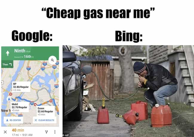 Cheap Gas is listed (or ranked) 3 on the list 18 Hilarious Memes About How Much Bing Sucks