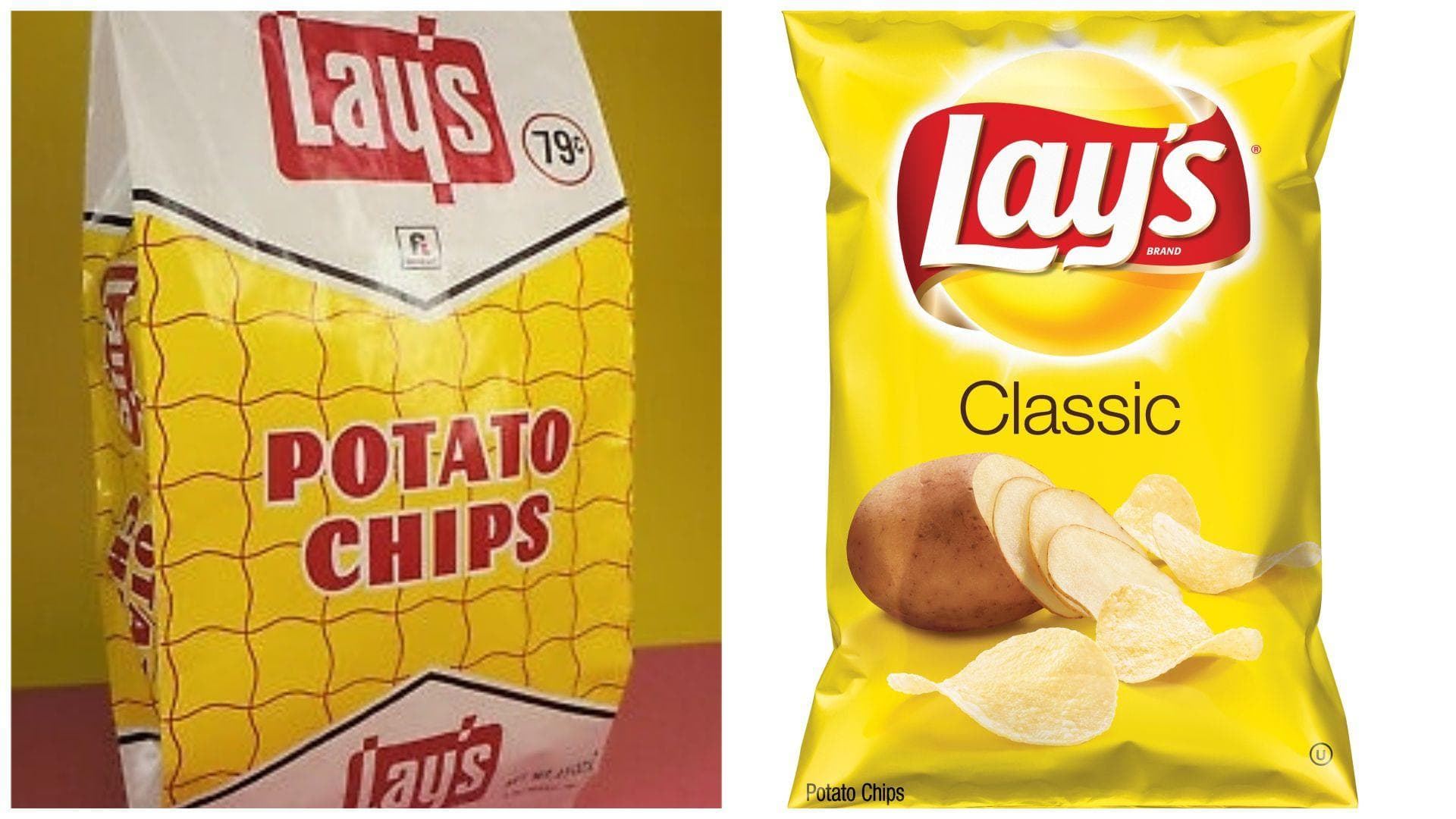 Lay's, 1967 Vs. 2019 on Random Potato Chip Bags Have Changed Over Tim