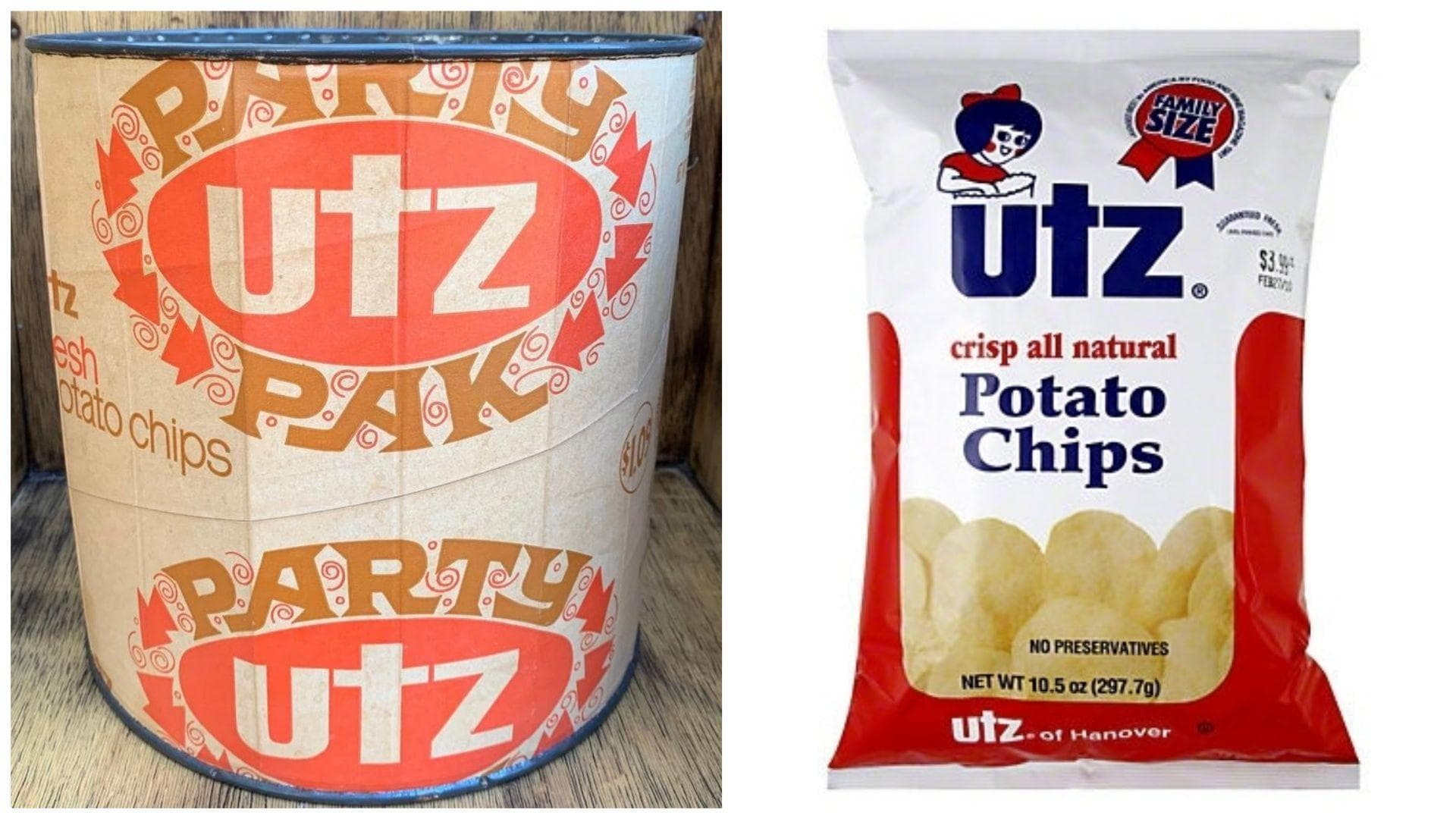 Utz Potato Chips, C. 1960s Vs. 2019 on Random Potato Chip Bags Have Changed Over Tim